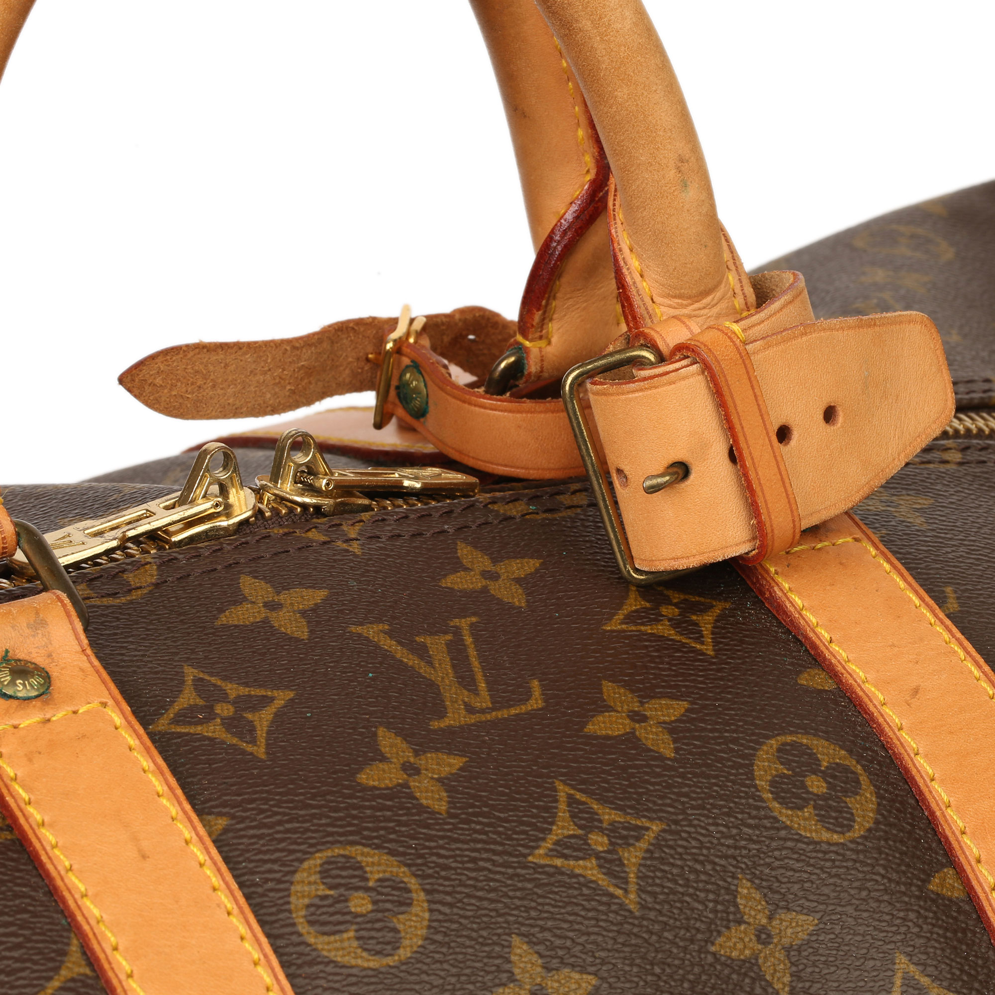 Louis Vuitton Brown Monogram Coated Canvas & Vachetta Leather Vintage Keepall 55 - Image 9 of 14