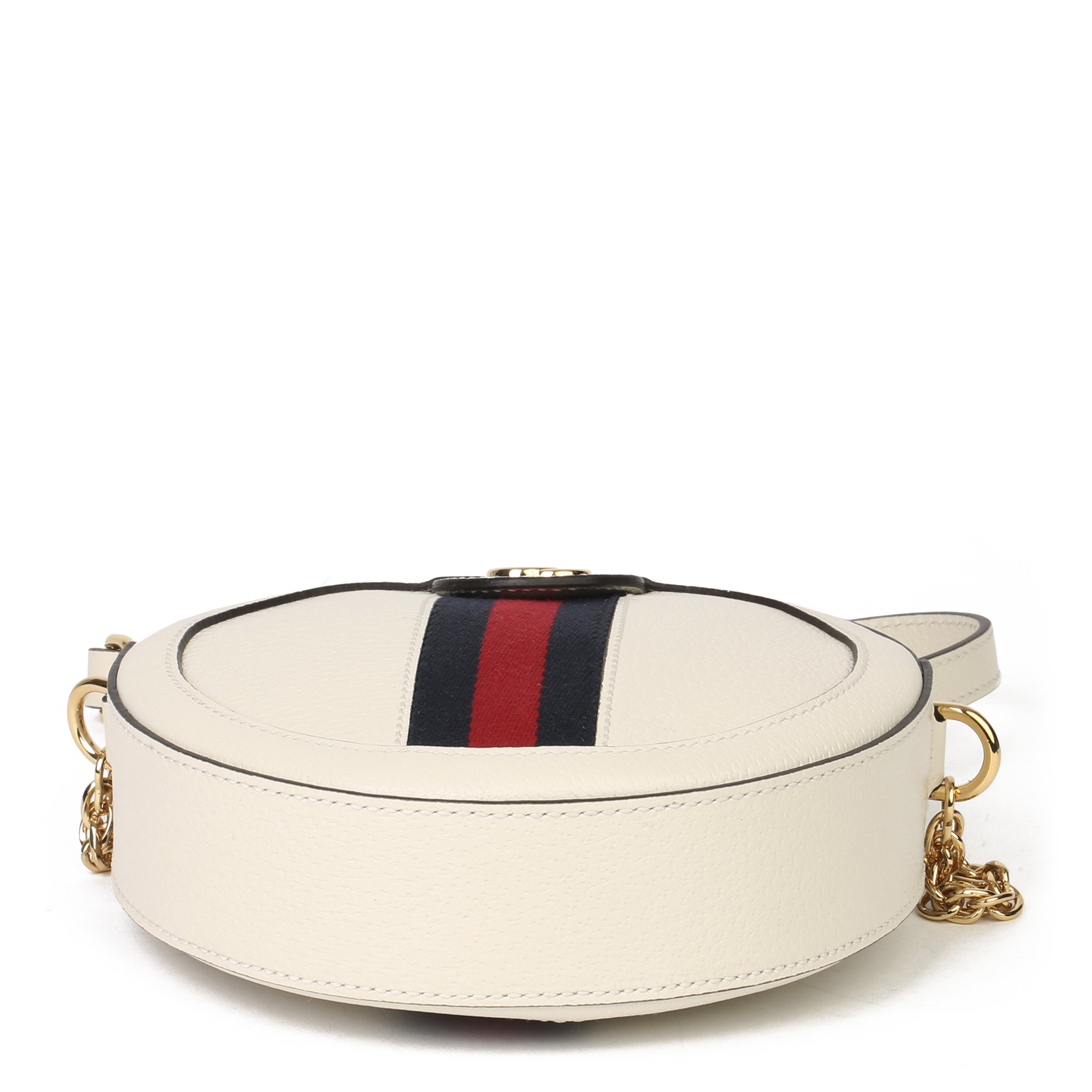 Gucci White Pigskin Leather Web Mini Round Orphidia Shoulder Bag - Image 8 of 11