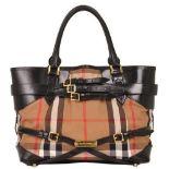 Burberry - Nova Check Leather Shoulder Bag