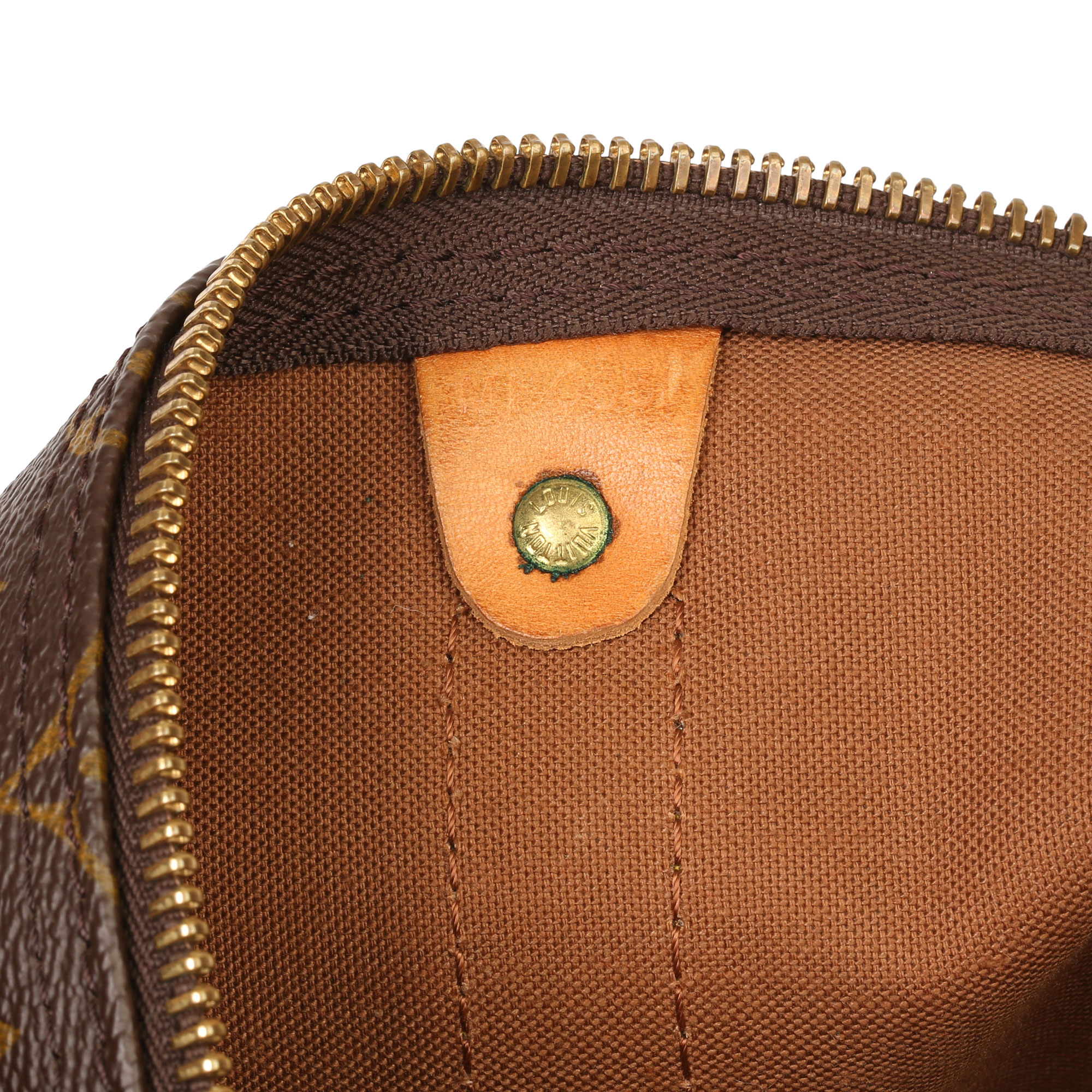 Louis Vuitton Brown Monogram Coated Canvas & Vachetta Leather Vintage Keepall 55 - Image 7 of 14