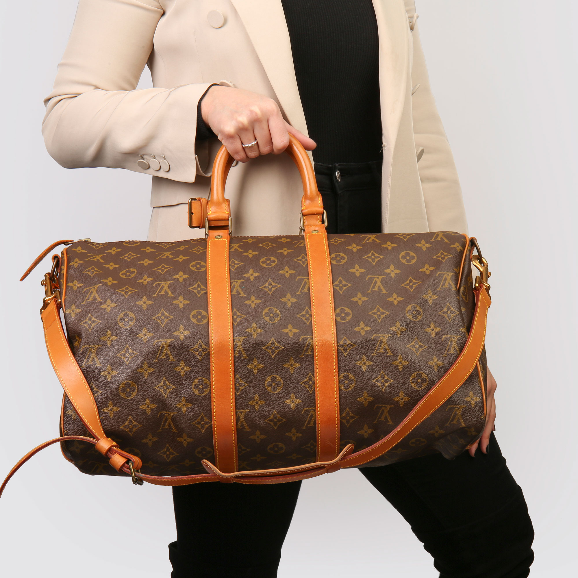 Louis Vuitton Brown Monogram Coated Canvas & Vachetta Leather Vintage Keepall 45 Bandoulire - Image 2 of 13