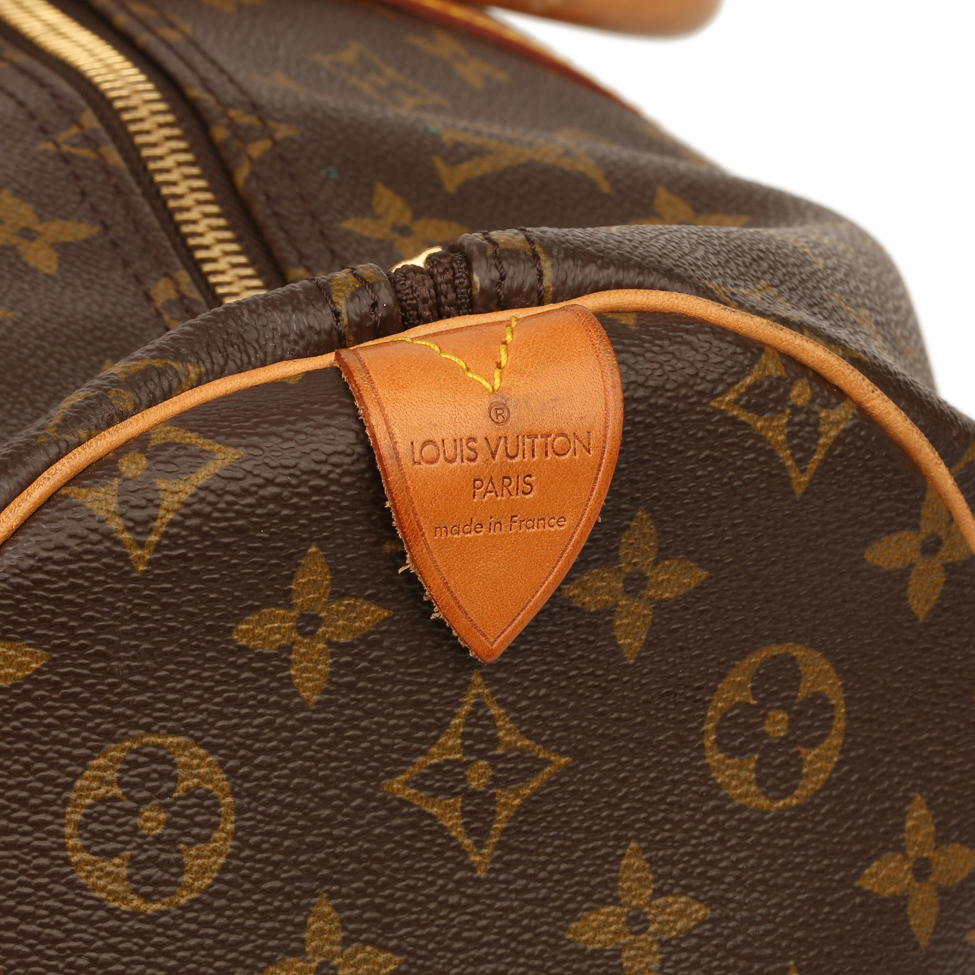 Louis Vuitton Brown Monogram Coated Canvas & Vachetta Leather Vintage Keepall 55 - Image 8 of 14