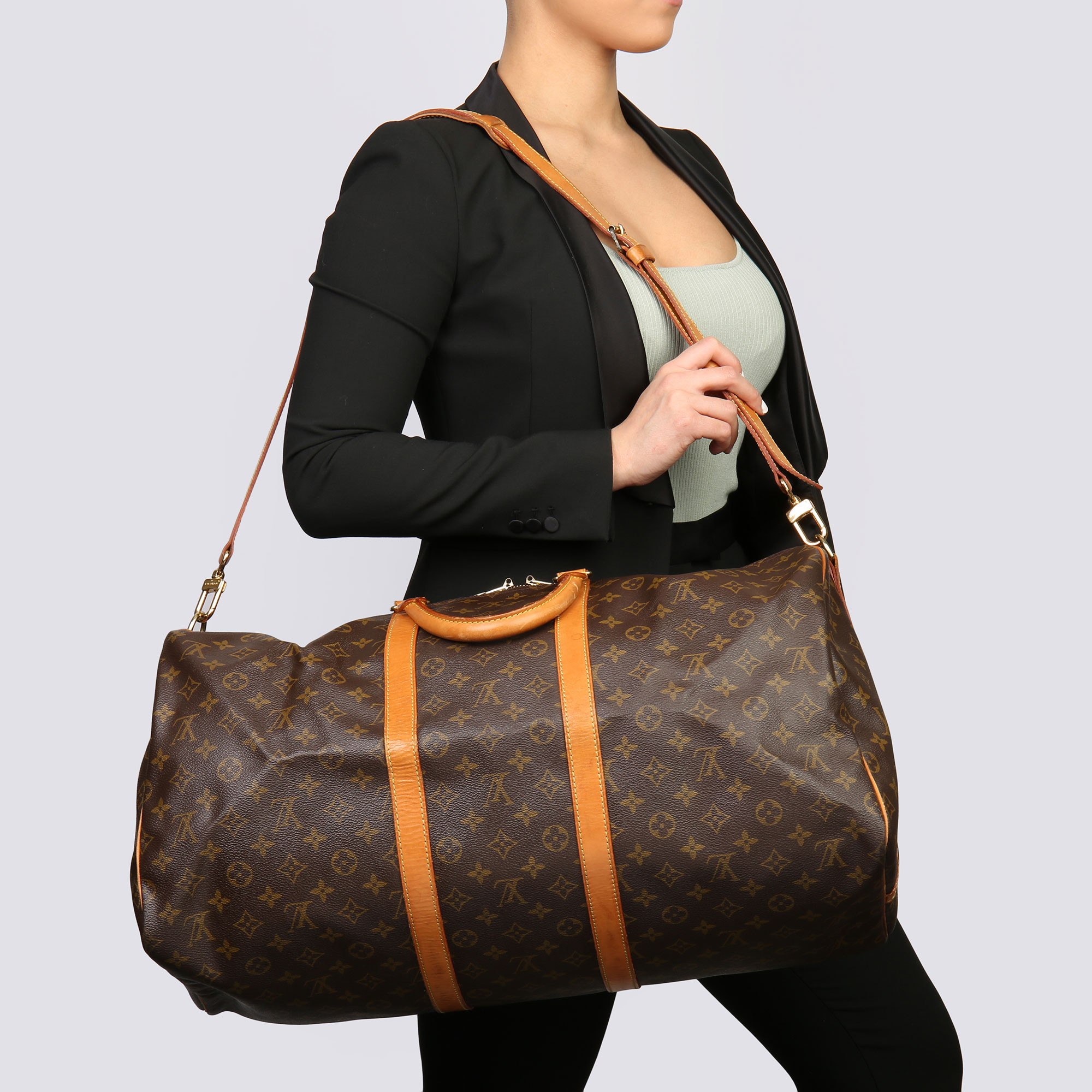 Louis Vuitton Brown Monogram Coated Canvas & Vachetta Leather Vintage Keepall 55 Bandoulire - Image 2 of 10