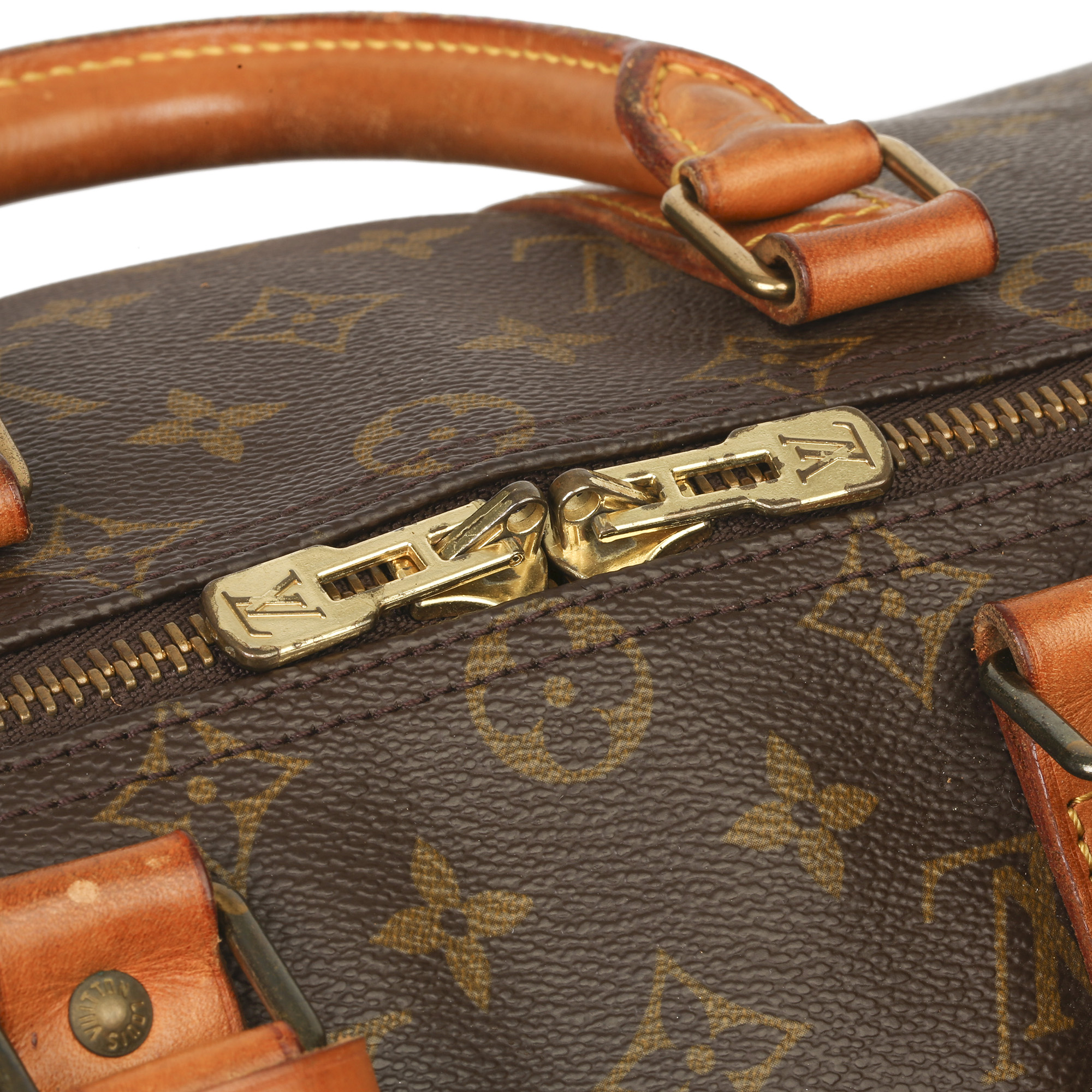 Louis Vuitton Brown Monogram Coated Canvas & Vachetta Leather Vintage Keepall 45 Bandoulire - Image 8 of 13