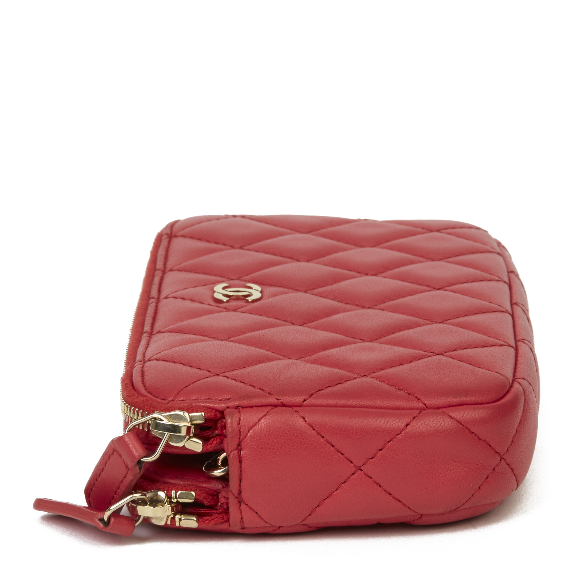 Chanel Red Quilted Lambskin Double Zip Wallet-on-Chain WOC - Image 11 of 11