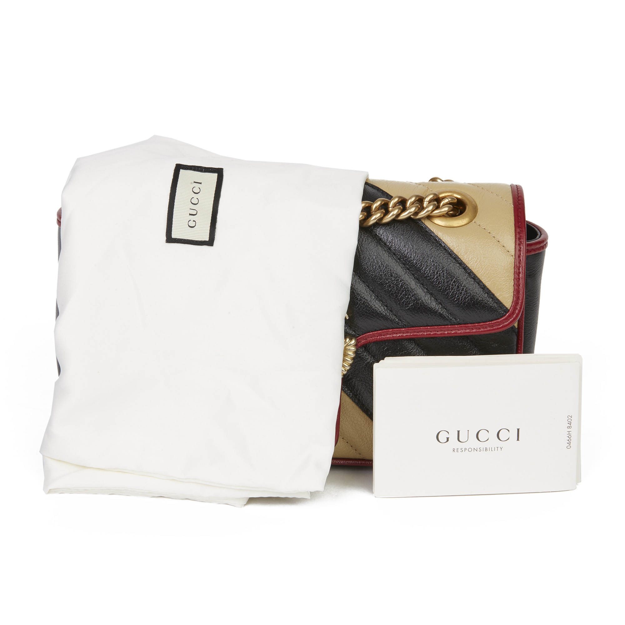 Gucci Black, Cream & Red Diagonal Quilted Aged Calfskin Leather Mini Marmont - Image 3 of 12