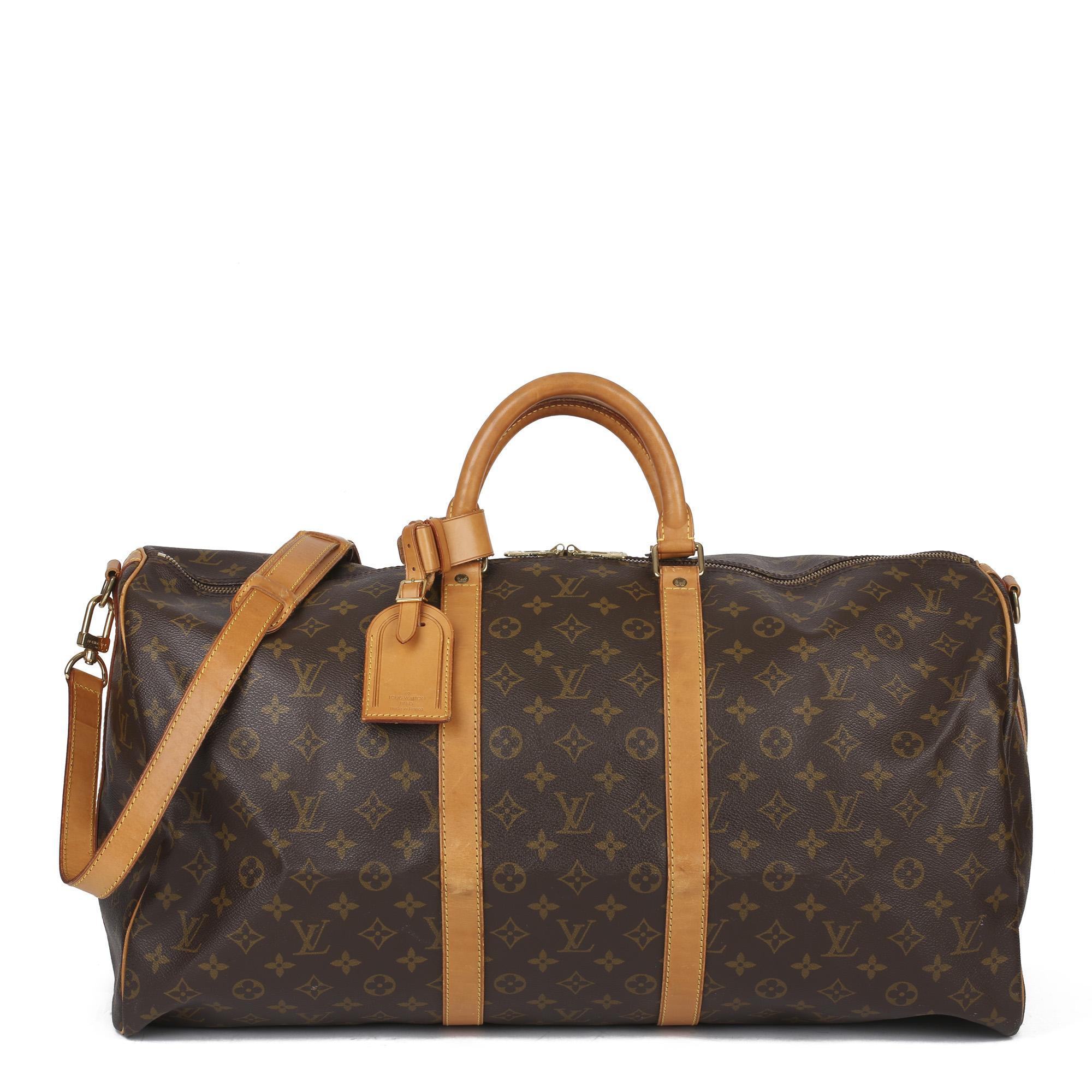 Louis Vuitton Brown Monogram Coated Canvas & Vachetta Leather Vintage Keepall 55 Bandoulire