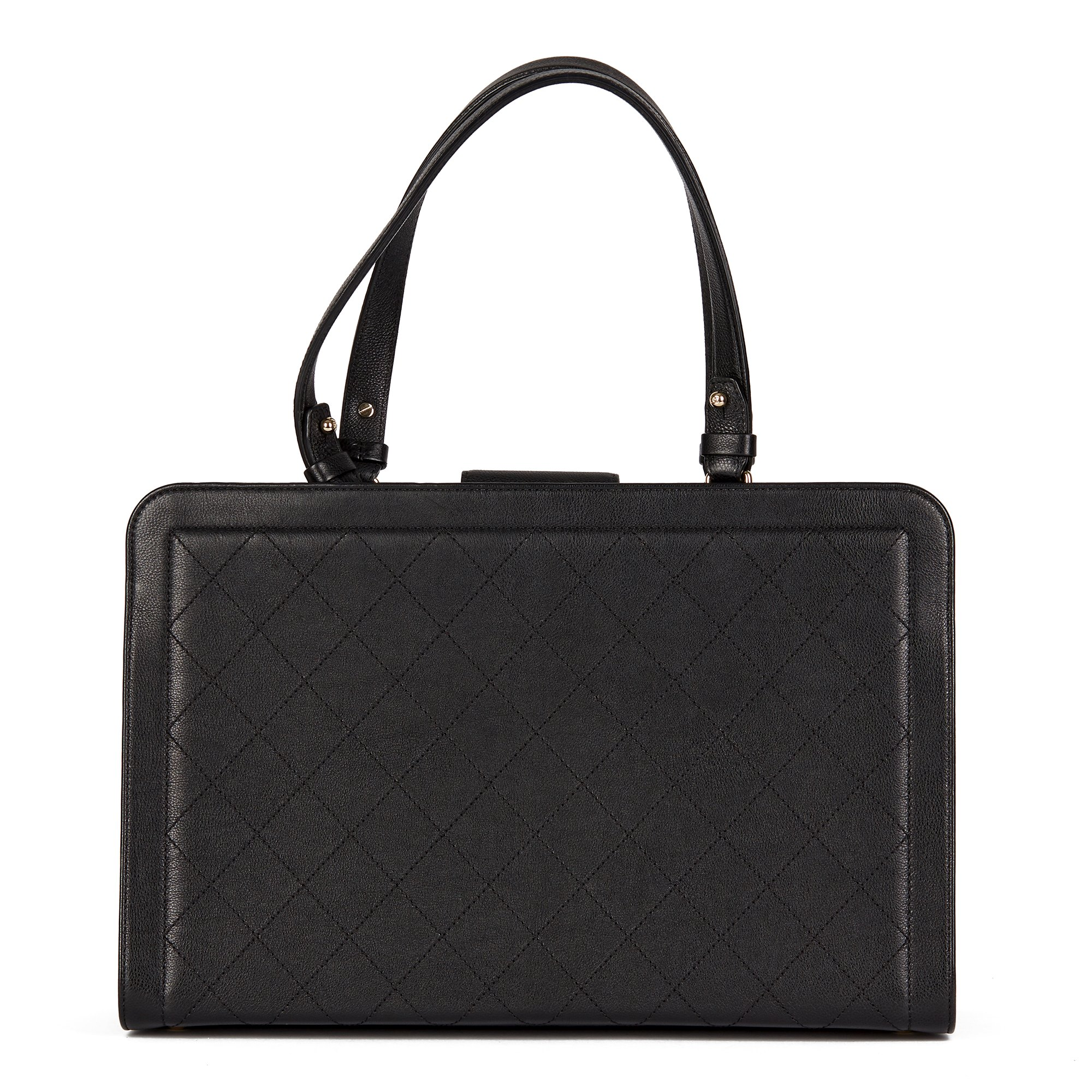 Chanel Black Quilted Calfskin Leather Large Label Click bidping Tote - Image 4 of 11