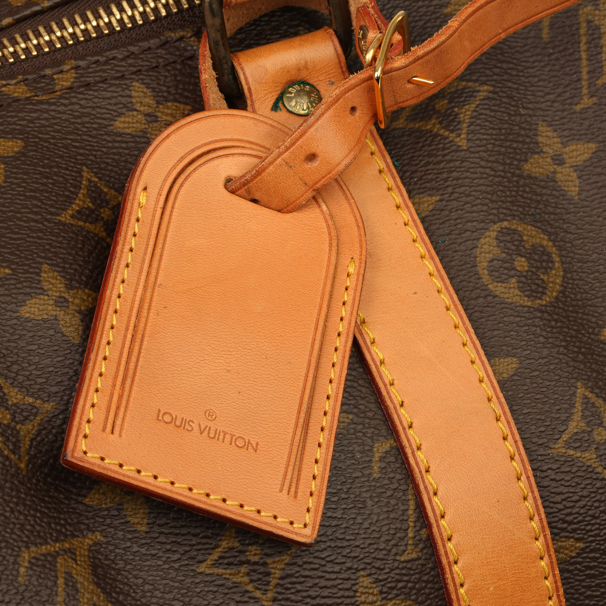 Louis Vuitton Brown Monogram Coated Canvas & Vachetta Leather Vintage Keepall 55 - Image 10 of 14