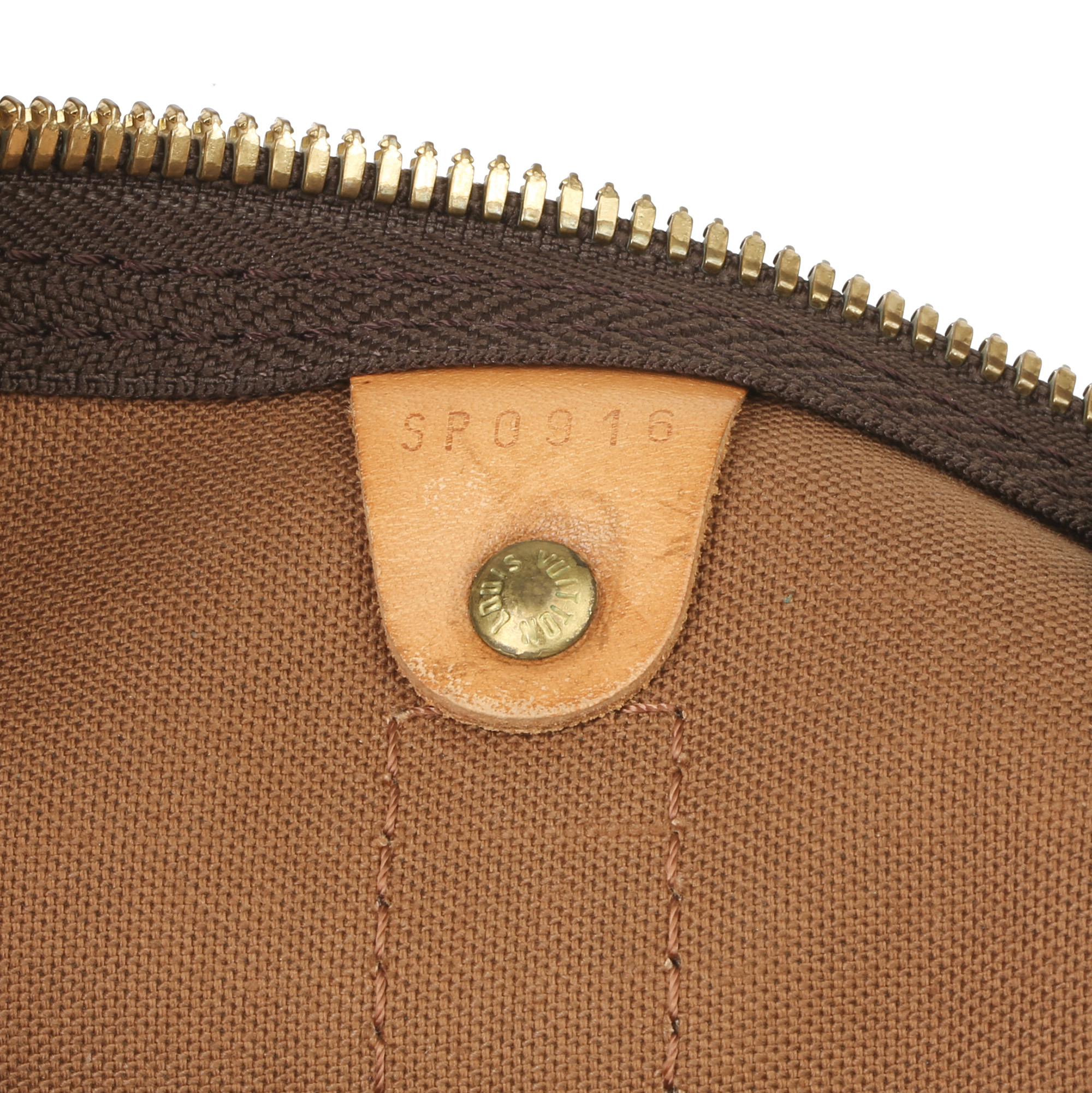 Louis Vuitton Brown Monogram Coated Canvas & Vachetta Leather Vintage Keepall 50 - Image 4 of 11