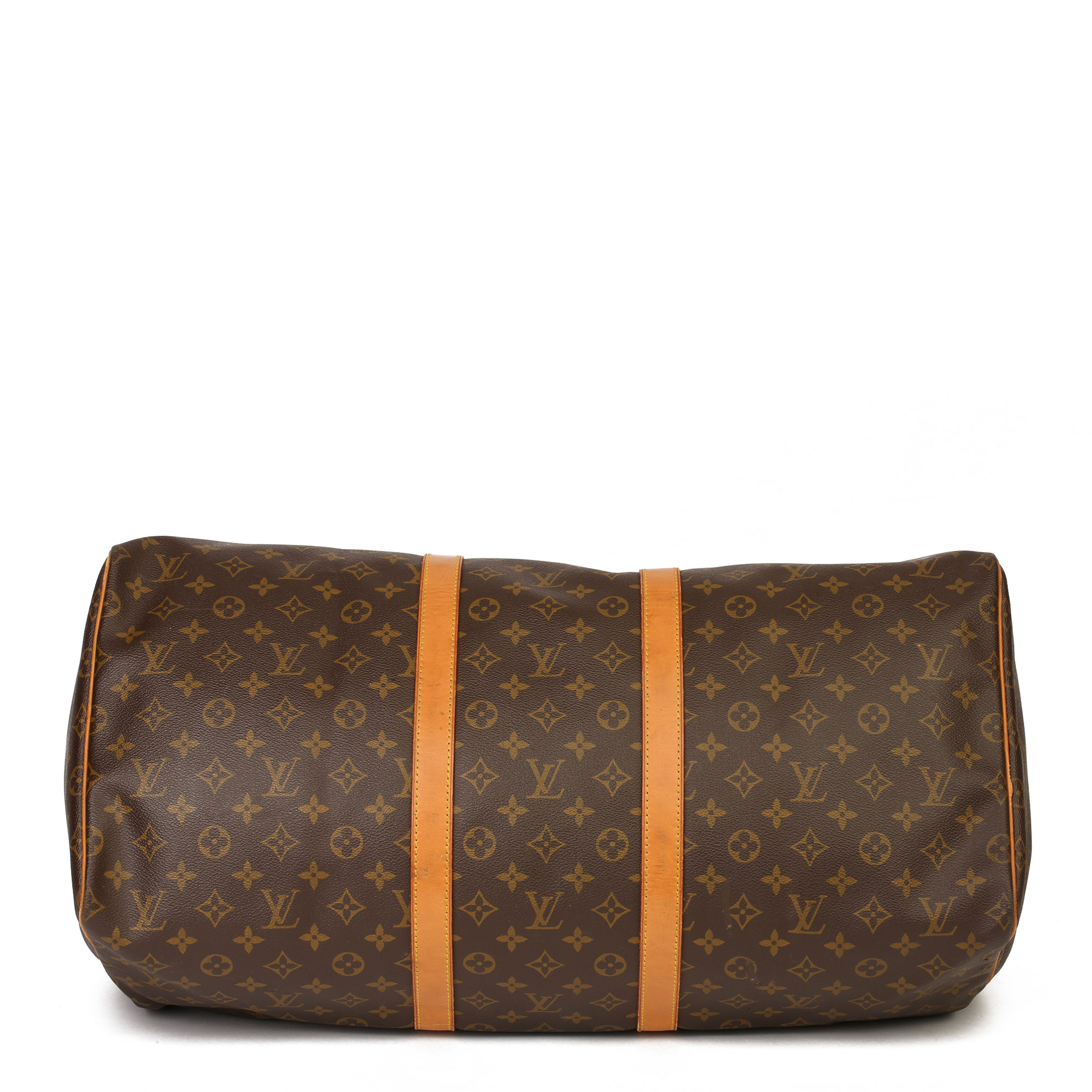 Louis Vuitton Brown Monogram Coated Canvas & Vachetta Leather Vintage Keepall 55 - Image 11 of 14