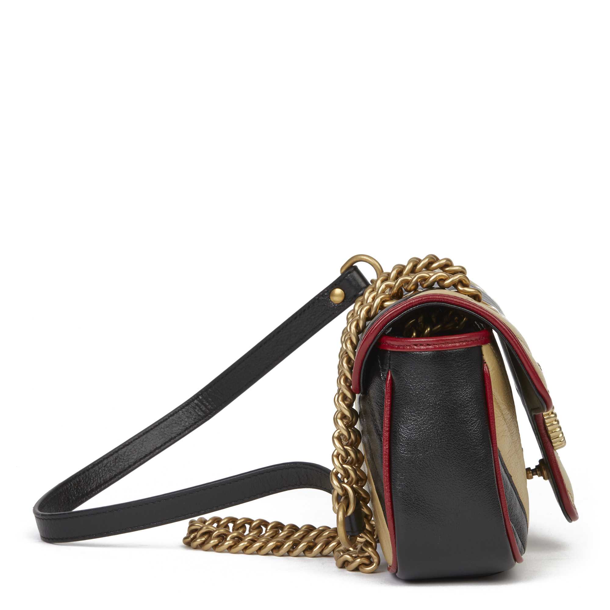 Gucci Black, Cream & Red Diagonal Quilted Aged Calfskin Leather Mini Marmont - Image 12 of 12