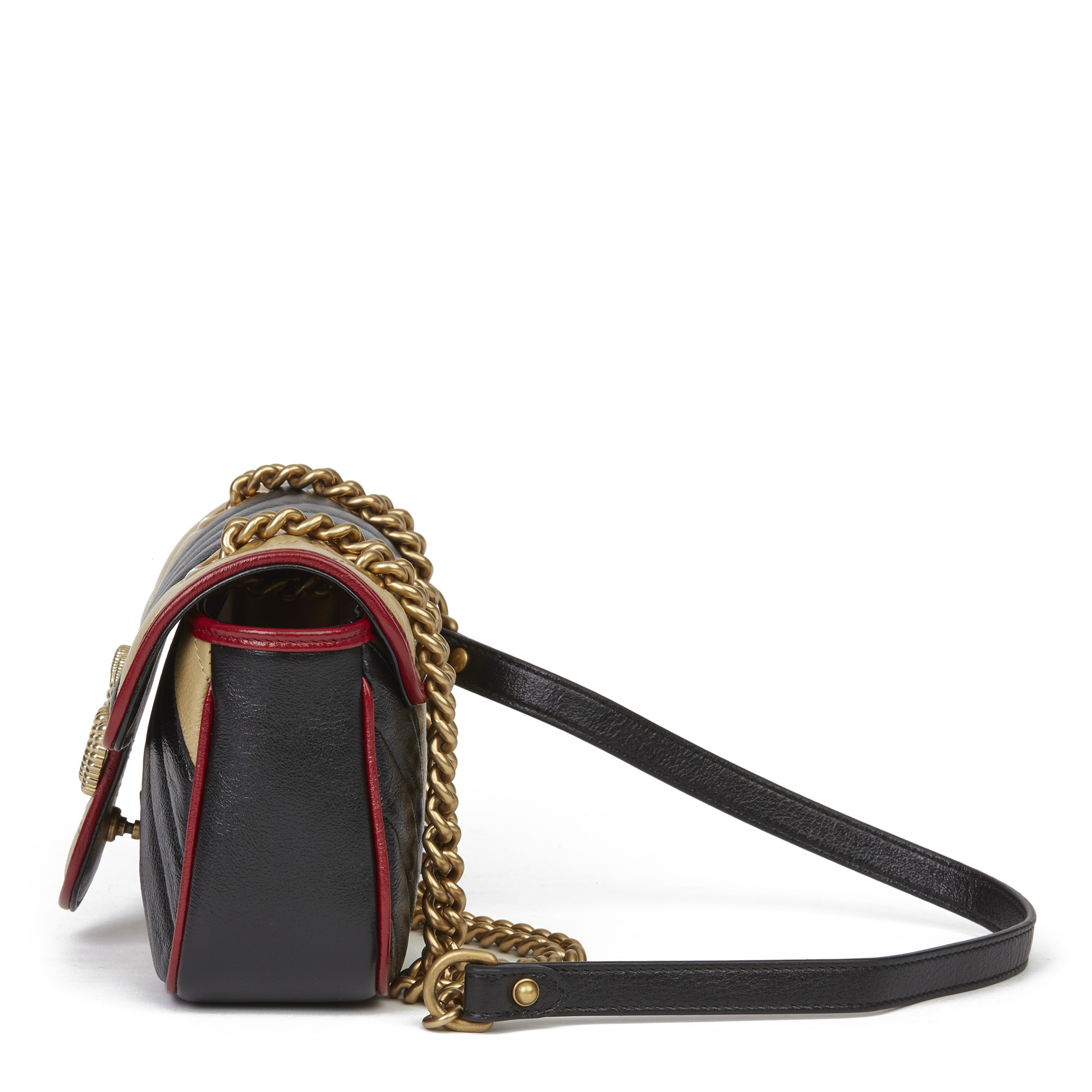 Gucci Black, Cream & Red Diagonal Quilted Aged Calfskin Leather Mini Marmont - Image 11 of 12