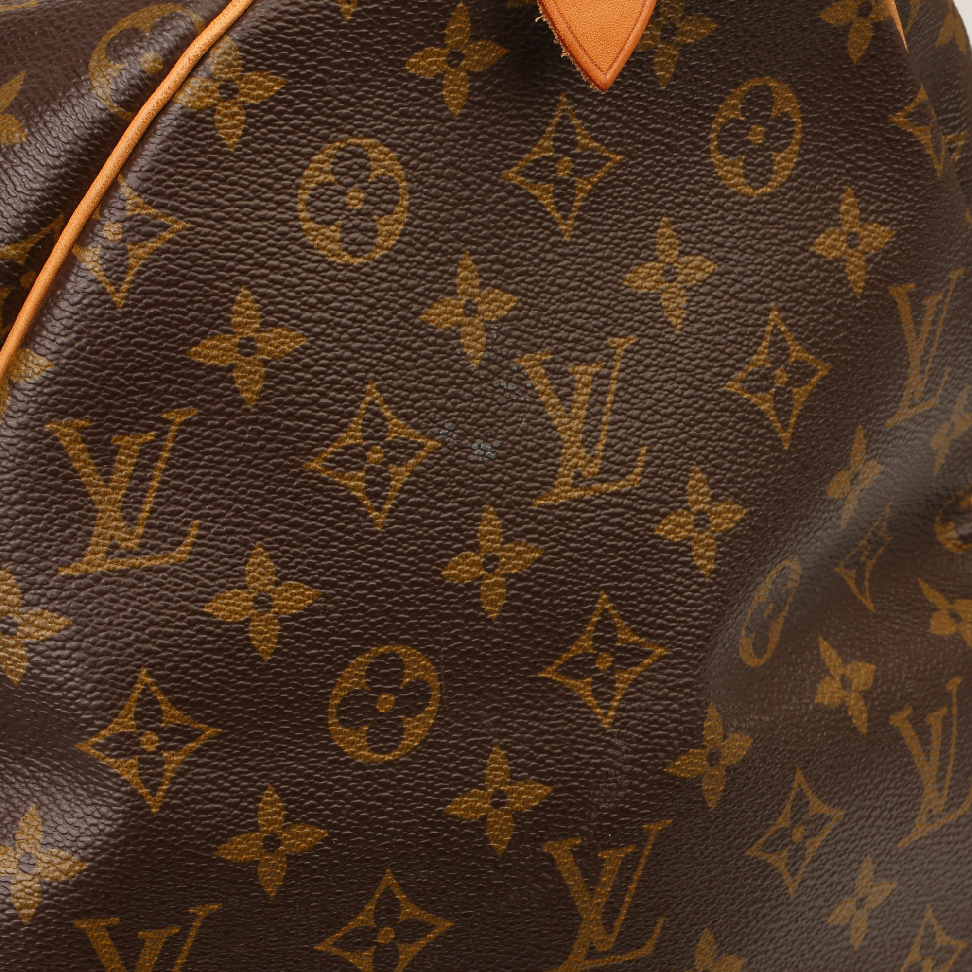 Louis Vuitton Brown Monogram Coated Canvas & Vachetta Leather Vintage Keepall 55 - Image 4 of 14
