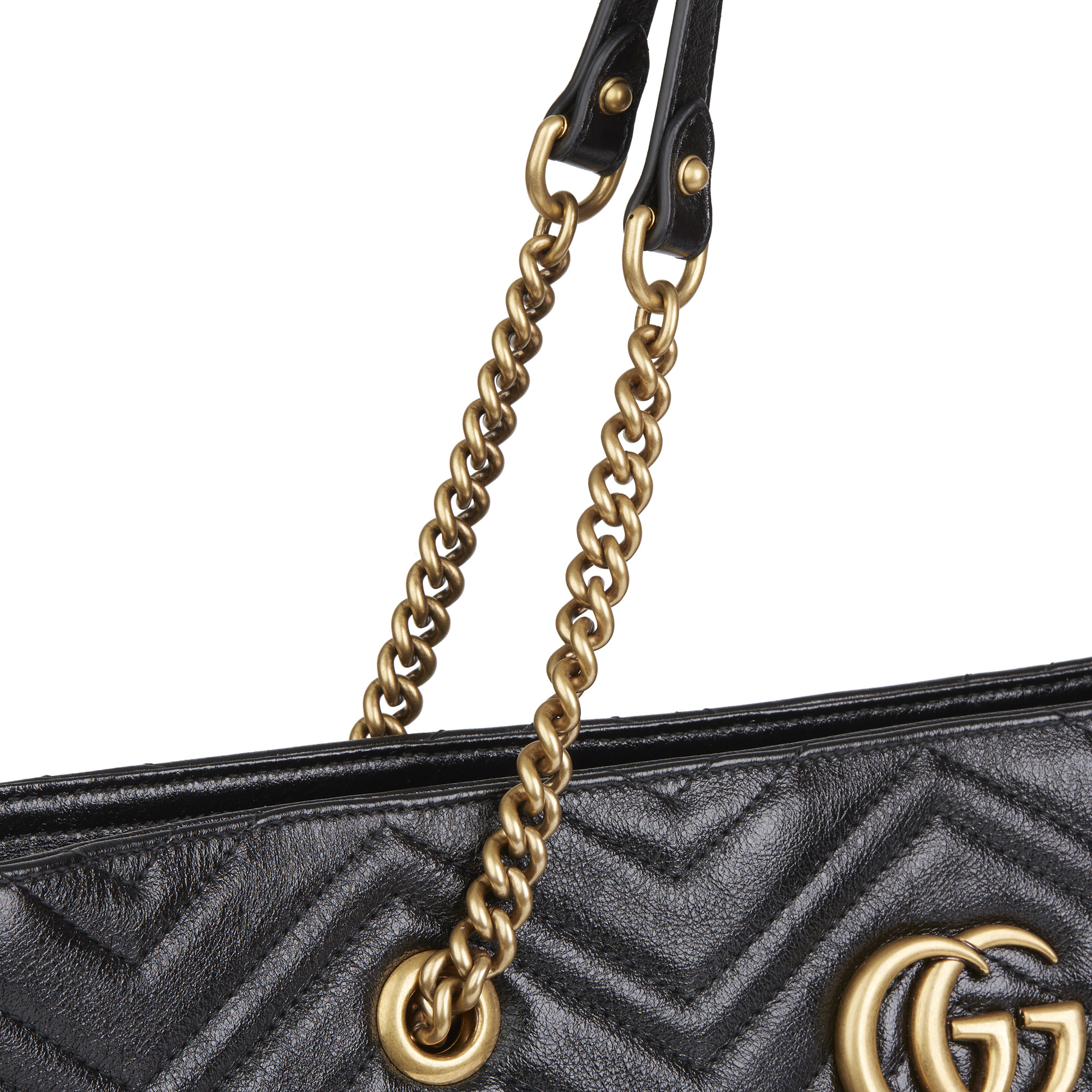 Gucci Black Quilted Shiny Calfskin Leather Marmont Shoulder Tote - Image 7 of 12