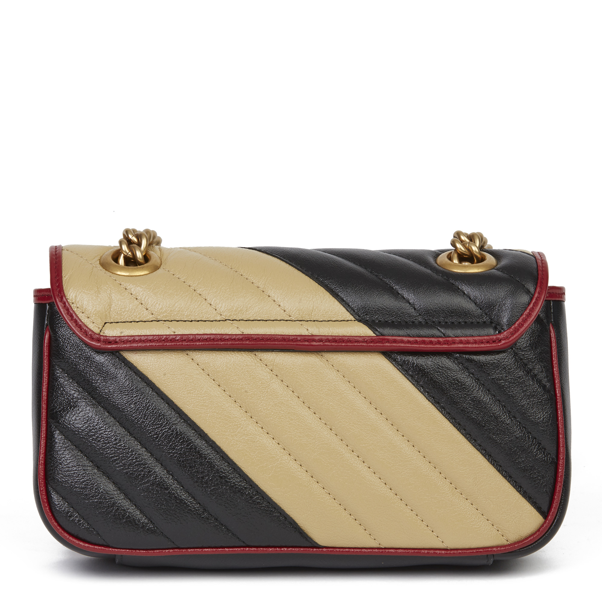 Gucci Black, Cream & Red Diagonal Quilted Aged Calfskin Leather Mini Marmont - Image 10 of 12