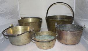 Set of 5 Early Antique English Handled Jam Kettles