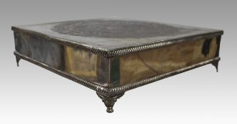 Early 19th c. English Silver on Copper Square Cake Stand