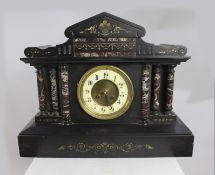 Victorian Heavy Black Slate Pediment Mantle Clock