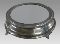 Antique Circular Mirror Topped Pewter Cake Stand