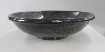 Italian 20th c. Black Marble Large Lipped Bowl