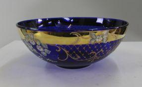 Vintage Italian Painted & Gilded Cobalt Blue Bowl