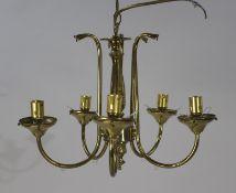 Five Light Brass Chandelier