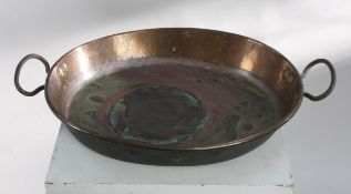 Early Antique Georgian Copper Two Handled Serving Bowl Basin