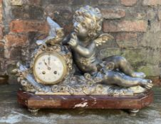 C19th pewter clock on a a rouge marble base