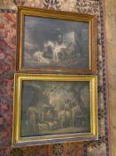 Pair of framed G. morland mezzotints C1810s