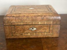 C19th walnut work box