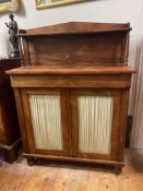 C19th diminutive side cabinet veneered in Rosewood with pleated doors