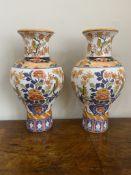 Pair of flatback Imari vases