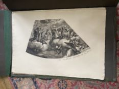 C19th facsimile copy of a C17th original engraving of a curved ceiling painting
