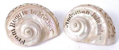 Two Colonial folk art pearl shells one 'From Reggie to Mother' the other 'Andaman Islands'