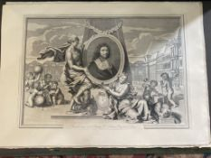 Large C19th Louvre facsimile of a C17th engraving of Colbert