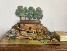 Early C20th cardboard Noah's ark with loads of animals