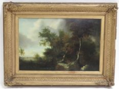 Early 19th Century Continental School - wooded landscape with stormy sky oil on board
