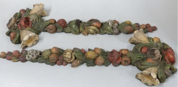 Pair of French plaster wall hangings depicting fruit and flowers