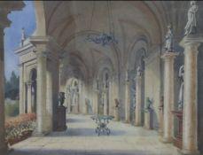 R H Hill watercolour, Colonnade, Villa Torlonia, Rome