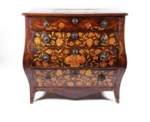 C18th Dutch marquetry bombe shaped chest of four drawers