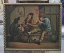 C19th oil painting Copy of Dutch master, drinking scene oil on board