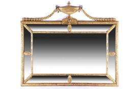 C19th Adams style mirror with urn and swags