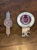 Motoring interest two badges on caravan club, and one morris badge