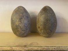 C19th pair of grand tour turned marble eggs