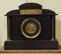Late 19th Century French black slate cased architectural style mantel clock