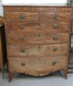 A large C19th bow front chest of drawers, of four long and two short drawers,