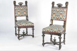 Two Italian carved side chairs