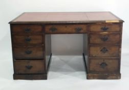 C19th walnut pedestal desk based on C17th walnut furniture Design