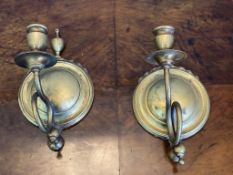Pair of brass wall sconces for candles c 1900